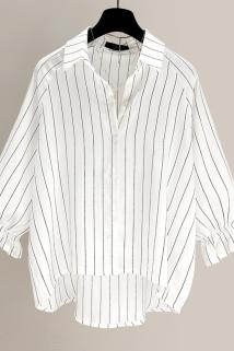 邮多多淘宝集运转运2021夏季新款韩版条纹衬衣宽松春装短款雪纺衬衫长袖外套上衣女装