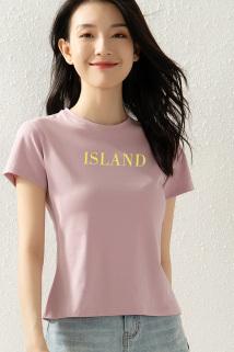 邮多多淘宝集运转运纯棉短袖t恤女夏季短款小个子2021年新款字母印花修身半截袖上衣