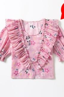 邮多多淘宝集运转运【地球店】小众减龄樱花粉熊猫上衣荷叶边V领碎花短款泡泡袖衬衫
