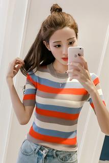 邮多多淘宝集运转运夏季新款韩版条纹冰丝短袖t恤女短款百搭上衣薄款修身打底针织衫