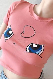 邮多多淘宝集运转运皮卡丘紧身高腰短款3D显胸大t恤女短袖夏季可爱修身显瘦性感上衣