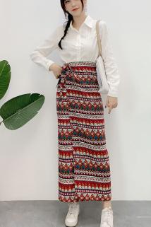 邮多多淘宝集运转运一片式囊裙民族风波西米亚花色泰国傣族风情中长款绑带半身裙女夏
