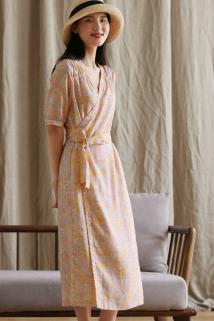 邮多多淘宝集运转运言作原创设计复古亚麻五分袖连衣裙V领斜襟中长款绑带裙子女夏季