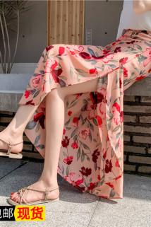 邮多多淘宝集运转运一块布系带半身裙子 一片式复古雪纺裹身裙 泰国绑带显瘦沙滩裹裙