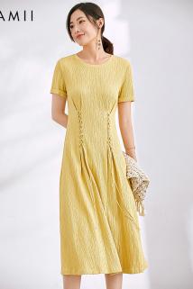 邮多多淘宝集运转运JII AMII2019夏装女新款大码文艺宽松圆领绑带短袖连衣裙61920109