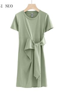 邮多多淘宝集运转运夏季绑带修身显瘦中长款连衣裙女上衣纯色棉质短袖套头体恤裙新款