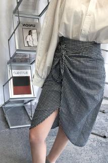 邮多多淘宝集运转运Madofit麻豆/设计感绑带高腰气质波点/小格子半身裙女不规则裙子