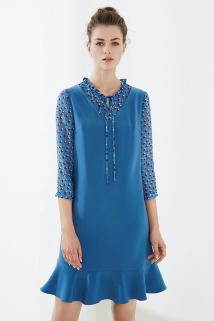 邮多多淘宝集运转运颜域品牌女装2021装新款知性时尚假两件荷叶V领绑带鱼尾连衣裙