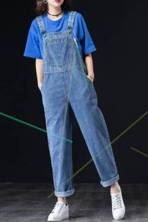 邮多多淘宝集运转运洋气牛仔背带裤女宽松2021新款牛仔裤显瘦直筒裤减龄连体裤WKgj
