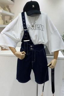 邮多多淘宝集运转运米米可2021夏季新款韩版单肩牛仔背带短裤女高腰直筒阔腿连体裤潮