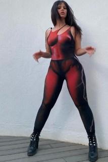 邮多多淘宝集运转运欧美风ing夏季女装印花性感无袖吊带紧身运动健身连体裤