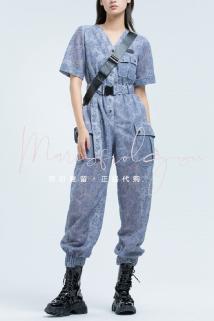 邮多多淘宝集运转运Marisfrolg.su玛丝菲尔素2021夏正品宽松蕾丝工装连体裤B1BW20465